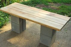 DIY Cinder Block Bench:  I would stain the wood a darker shade, and stain the blocks using cement stain.