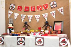Cutest party theme ever! SOCK MONKEYS!! sock monkeys, monkey birthday, birthday parties, 1st birthday, monkey parti, monkey party