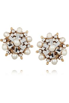 24-karat gold-plated Swarovski crystal and pearl clip earrings