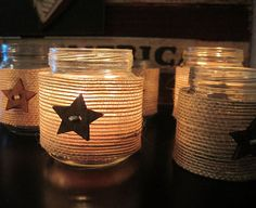 Rustic burlap and star tea light jars - theopenwindows.etsy.com  Baby food jars, twine and pony buttons I have lying around. PERFECT!