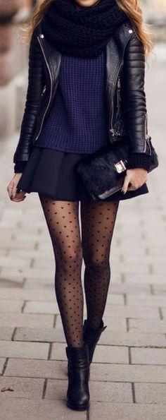 • black mini skirt • black high boots • leather jacket • black scarf • dotted black tights • blue skimpy top •