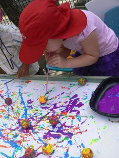 Dip ping pong balls in paint, then blow with straws.why have I not thought of this, we do them both (blowing paint & ping pong balls) but never together. Will now!