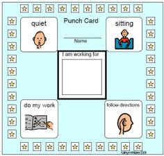 Behavior punch card with rule reminders: quiet, do my work, follow directions