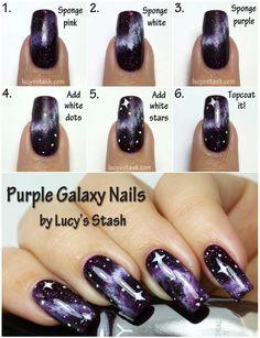 galaxy nails tutorial, purple galaxy nails, galaxies, nail art tutorial galaxy, purpl galaxi, nail arts, diy nail, nail design, galaxi nail