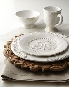 """Heirloom"" Monogrammed Salad Plates & Charger Plates by GG Collection at Horchow."
