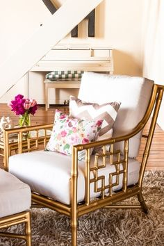 Gold bamboo chair