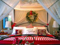 Christmas themed bedroom, I love it!