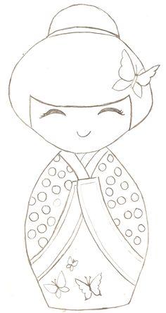 kokeshi, coloriage