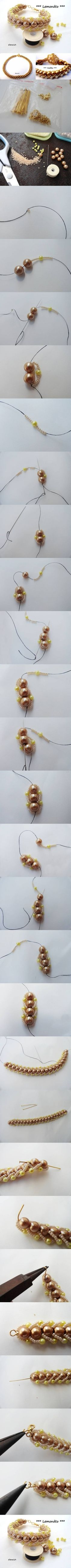 How to make Beads and pearls Bracelet step by step DIY tutorial instructions