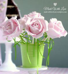 Beautiful rose cake pops.