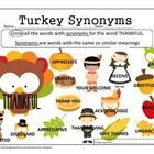 THANKFUL Synonym Worksheet! For free! A fun activity for Thanksgiving.  Print in color or grayscale. Use this worksheet for therapy or send home fo...