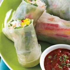 Fresh Rolls With Spicy Almond Dipping Sauce recipe