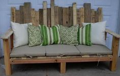 A nice simple patio sitting bench made from 3 different pallets