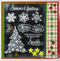 Fabulous Chalkboard technique Season's Greetings Card by TE Fan Colleen Begley! 8-) #Cardmaking, #Chalkboardtechnique, #Christmas