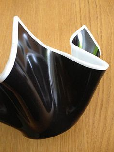 Chance Brothers Glass Handkerchief Vase Opaque White/Black 1960s 1970s