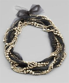Beaded tulle necklace
