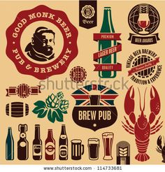 Beer Pub Labels, Badges And Icons Collection. Monk Beer Label. Stock Vector 114733681 : Shutterstock