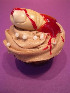 severed finger cupcake by Cake by Kim