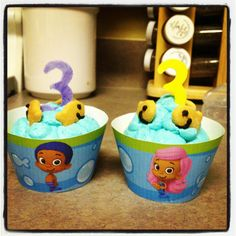 Bubble guppies cupcakes  www.daisymadecreations.com