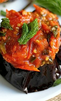 Coal-roasted eggplant with 3 different sauces (smoky tomato, yogurt ...