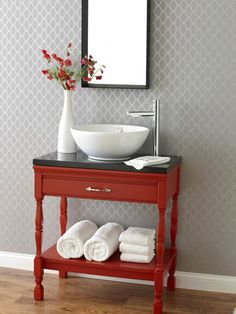 powder room, vaniti, idea, red, diy furniture
