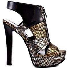 Tora heels Gold Metallic Rep PU brand heels Michael Antonio