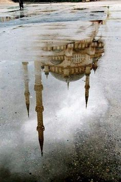 water reflections, mosques, reflection photography, art, places, turkey, travel, istanbul, rain