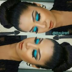 beat face, hair color painting, eye makeup, blue, ay eye, beauti, aqua eye, bold eye, bold colors