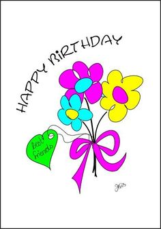 Cards Happy birthday, best friends, encouragement and occasion - bright colorful