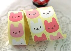 Pink Smile Rabbit Point Stickers