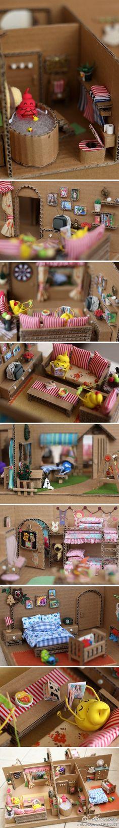 cute cardboard dollhouse!