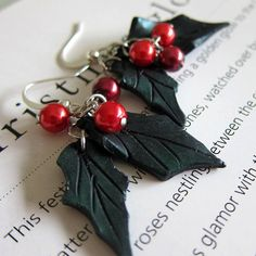 Christmas Earrings  Polymer Clay by beadscraftz on Etsy