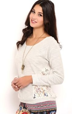 Deb Shops Long Sleeve Reverse French Terry Top with Lace Sides