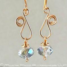 Sapphire Swarovski crystal earring with copper wire vine swirl - cute