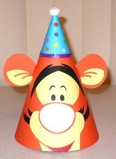 Tigger Birthday Party Hat with a Party Hat by CSCuteCrafts on Etsy, $15.00