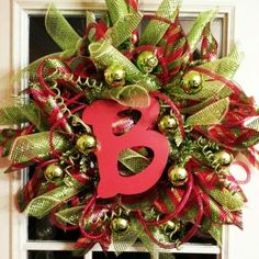 Deco Mesh Wreath Ideas | Deco mesh Christmas wreath my daughter made for me! | Christmas Ideas