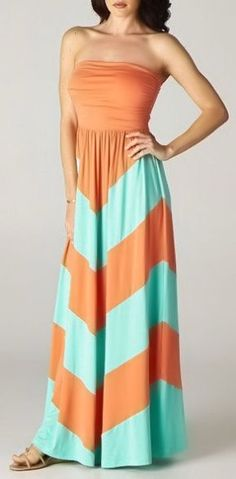 Colorblock Maxi Dress in Coral & Mint