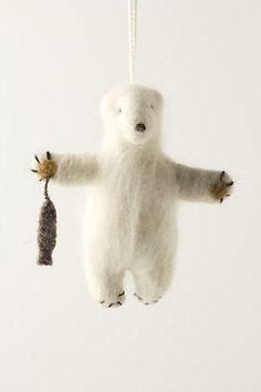 Anthropologie  Felted Polar Bear Ornament