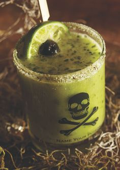 Spicy Goblin Cocktail - Halloween Recipe via Cost Plus World Market >> #WorldMarket Halloween #Recipes #cocktails (love the glass)