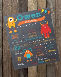 First Birthday Chalkboard-- Custom First Birthday Sign-- Farm-- Chalkboard Stats-- Custom Digital File