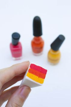 How to - ombre nail sponge prep. Great idea- just the sponge sucks up a lot of nail polish