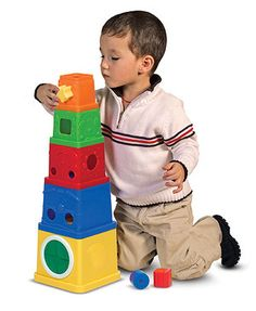 These multifunctional blocks have something new to explore on every side: a family of faces, drop-through tops, shape-sorter sides, and a school of sea creatures offer lots to discuss as children build vocabulary, hand-eye coordination, and motor skills.
