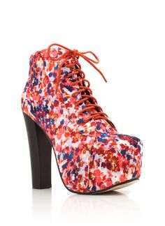 floral print lace-up bootie