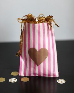 pink and white stripe gold heart party favor bags