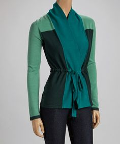 Take a look at this Green & Black Color Block Wrap Cardigan by ELIO on #zulily today!