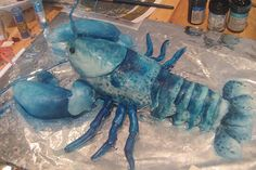 Blue lobster cake...wow. We may need to make this to celebrate Toby's arrival! #JoesCrabShack #JoesMaineEvent #TwinLobsterBucket