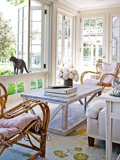Fold open windows in sunroom. George Washington Slept Here - Traditional Home