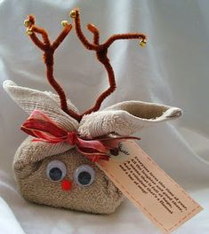 Bumble Bee's Craft Den: Finished Flannel Reindeer with tag  ~~~ Use special  homemade soaps ~ or yardley Lavendar  such cuters / maybe next year stocking stuffers~ soaps . I found some wonderful ones in new york