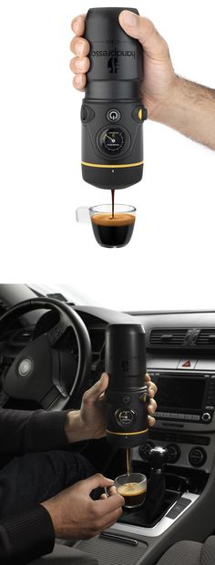 I NEED ONE. Espresso on the go - plugs into a standard car socket.