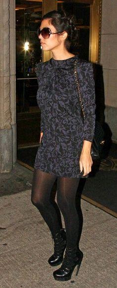 Who made Kourtney Kardashian's long sleeve dress, black shoes, black purse, tights and black sunglasses that she wore in New York? Dress – Jill Stuart  Purse – Chanel  Tights – American Apparel  Shoes – Alexander McQueen  Sunglasses – Balenciaga